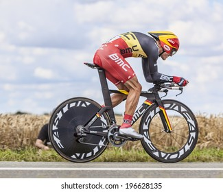 BEAUROUVRE,FRANCE,JUL 21:The Belgian cyclist Philippe Gilbert from BMC Team pedaling during the 19 stage- a time trial between Bonneval and Chartres on July 21 2012.