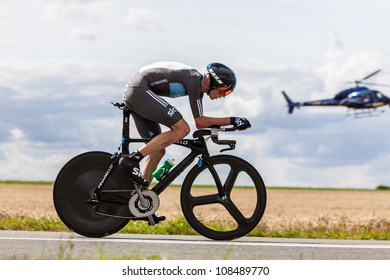 BEAUROUVRE,FRANCE,JUL 21:The British cyclist Froome Christopher (Sky Procycling) pedaling during the 19th stage of Le Tour de France 2012, a time trial  between Bonneval and Chartres on July 21 2012.