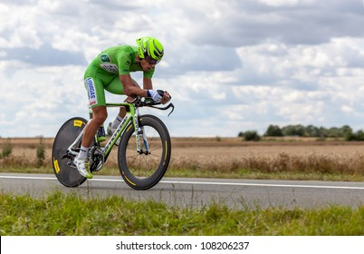 BEAUROUVRE,FRANCE,JUL 21:The cyclist Sagan Peter (Liquigas-Cannondale) wearing The Green Jersey during the 19 stage- a time trial  between Bonneval and Chartres- of Le Tour de France on July 21 2012.