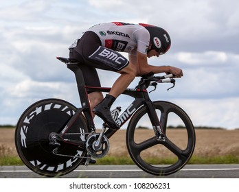 BEAUROUVRE,FRANCE,JUL 21:The cyclist Van Garderen Tejay (BMC Racing ) wearing The White Jersey during the 19 stage- a time trial  between Bonneval and Chartres- of Le Tour de France on July 21 2012.
