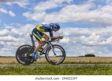BEAUROUVRE,FRANCE,JUL 21:The Danish cyclist Michael Morkov  from Team Tinkoff-Saxo pedaling during the 19 stage- a time trial between Bonneval and Chartres on July 21 2012.