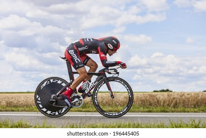 BEAUROUVRE,FRANCE,JUL 21:The French cyclist Amael Moinard from BMC Team pedaling during the 19 stage- a time trial between Bonneval and Chartres on July 21 2012.