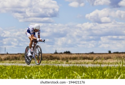 BEAUROUVRE,FRANCE,JUL 21:The French cyclist Brice Feillu from Sojasun Team pedaling during the 19 stage- a time trial between Bonneval and Chartres on July 21 2012.