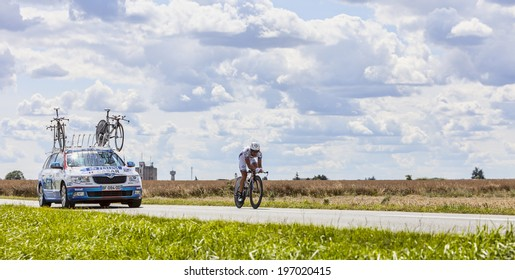 BEAUROUVRE,FRANCE,JUL 21:The French cyclist Sandy Casar from Team FDJ pedaling during the 19 stage- a time trial between Bonneval and Chartres on July 21 2012.