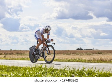 BEAUROUVRE,FRANCE,JUL 21:The French cyclist Thibaut Pinot from FDJ Team pedaling during the 19 stage- a time trial between Bonneval and Chartres on July 21 2012