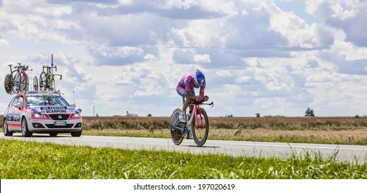 BEAUROUVRE,FRANCE,JUL 21:The Italian cyclist Michele Scarponi  from Team  Lampre-ISD pedaling during the 19 stage- a time trial between Bonneval and Chartres on July 21 2012.