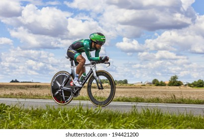 BEAUROUVRE,FRANCE,JUL 21:The Japanese cyclist Yukiya Arashiro from Team Europcar pedaling during the 19 stage- a time trial between Bonneval and Chartres on July 21 2012.