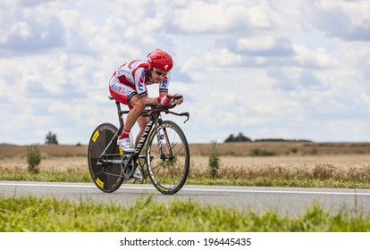 BEAUROUVRE,FRANCE,JUL 21:The Russian cyclist Yuri Trofimov from Team Katusha, pedaling during the 19 stage- a time trial between Bonneval and Chartres on July 21 2012.