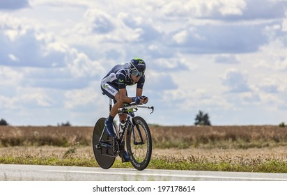 BEAUROUVRE,FRANCE,JUL 21:The Spanish cyclist Alejandro Valverde from Movistar Team pedaling during the 19 stage- a time trial between Bonneval and Chartres on July 21 2012