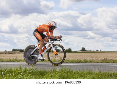 BEAUROUVRE,FRANCE,JUL 21:The Spanish cyclist Gorka Izagirre from Team Euskaltel-Euskadi pedaling during the 19 stage- a time trial between Bonneval and Chartres on July 21 2012