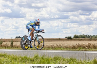 BEAUROUVRE,FRANCE,JUL 21:The Ukrainian cyclist Andrij Grivko from Team Astana pedaling during the 19 stage- a time trial between Bonneval and Chartres on July 21 2012.