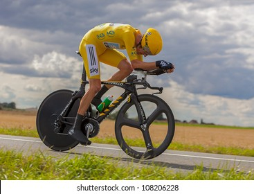 BEAUROUVRE,FRANCE,JUL 21:The winner of Le Tour de France 2012,Bradley Wiggins  wearing the Yellow Jersey during the 19 stage- a time trial  between Bonneval and Chartres on July 21 2012.