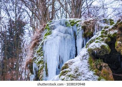 Beausnita waterfall on the winter