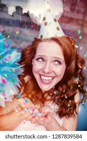 beautfiful red hair beauty with party outfit on carnival birhtday or silvster day with party hat