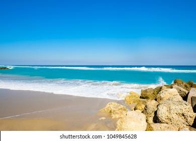 Beautful east coast beach in West Palm Beach, Florida.