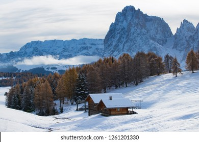 Beautful snowy mountains in Alpe di Siusi, Dolomite mountains -