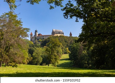 Beautful view of the Veste Coburg (Coburg Fortress) on a sunny day in Coburg, Bavaria, Germany