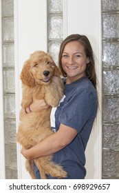 A beautful young standing woman with long hair carrying a furry three month old Goldendoodle puppy named Woody