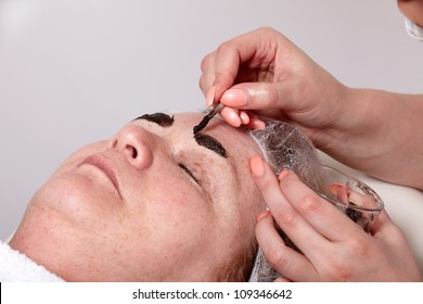 Beautician colors the eyebrows of a woman in cosmetic studio