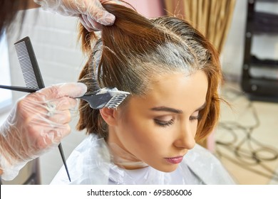 Beautician dying hair of woman. Girl in beauty salon.