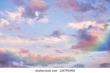 Beautidul purple sky and rainbow