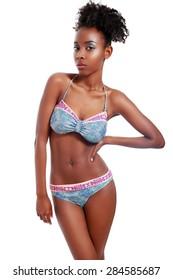 beautifu african american woman posing in lingerie