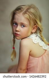 beautifu sad little girl painterly look portrait studio