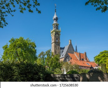 Beautiful 15th-century town hall of Veere, popular tourist town located in Province of Zeeland, The Netherlands