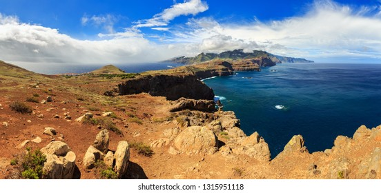 Beautiful 180 degree panoramic landscape panorama of the island Madeira from Ponta do Rosto at the Ponta de Sao Lourenco nature reserve