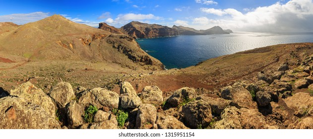 Beautiful 180 degree panoramic landscape panorama of the island Madeira from Ponta de Sao Lourenco nature reserve