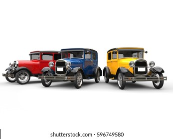 Beautiful 1920s vintage cars in blue, red and yellow - 3D Illustration