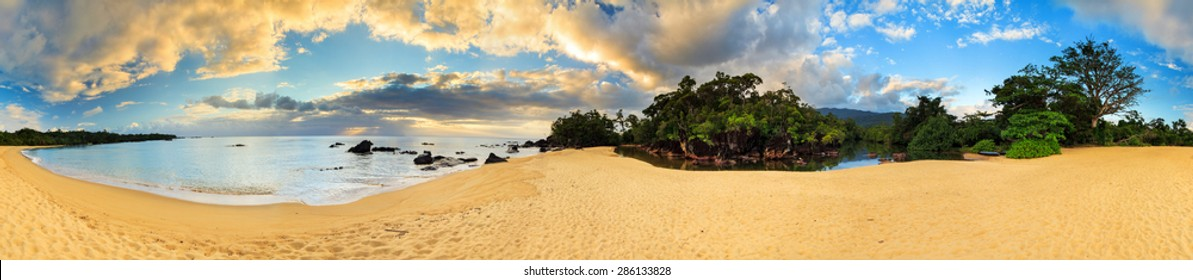 Beautiful 360 degree panorama at the beach of Masoala national park, Madagascar