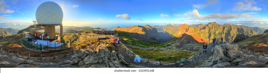 Beautiful 360 degree panoramic landscape panorama of the mountains of Madeira on a cloudy summer day from the top of Pico do Areeiro