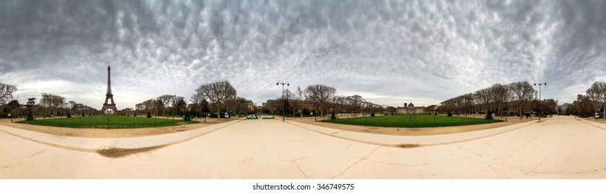 Beautiful 360 panorama of the Eiffel tower on a cloudy winter day in Paris