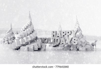 Beautiful 3D illustration Happy Holidays