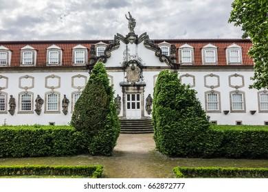 Beautiful 3-landing garden decorated with a Baroque fountain near Vila Flor. Vila Flor Palace, built by Tadeu Luis Antonio Lopes de Carvalho de Fonseca and Camoes in 18th century. Guimaraes, Portugal.