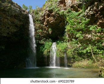 Beautiful 77-foot waterfalls at the Natural Falls State Park, West Siloam Springs, Oklahoma