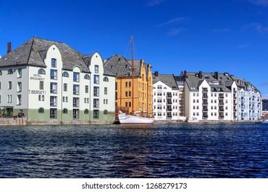 Beautiful Aalesund city in Norway.  April 2018