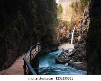 Beautiful Aareschlucht (Canyon) in Switzerland with stunning Waterfall and river