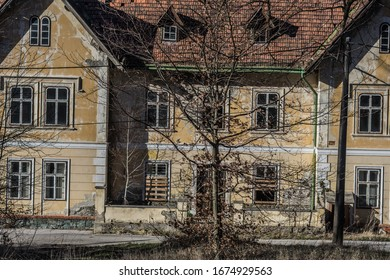 beautiful abandoned hotel in the mountains view detail