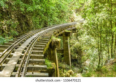 Beautiful But Abandoned Tunnels And Railway at Alishan Forest Railway Mianyue Line, Alishan National Scenic Area, Chiayi,Taiwan