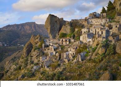 The beautiful abandoned village Pentedattilo, Aspromonte, Calabria, Italy