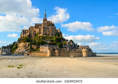 Beautiful abbey Mont Saint-Michel, cathedral on the island on quicksand, Normandy, France, Europe