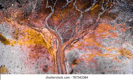 Beautiful abstract aerial photo about a lakebed