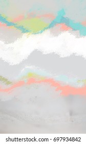 Beautiful abstract background with colorful painted waves in pastel candy colors on grey dirty texture. Fresh and bright, perfect for summer.