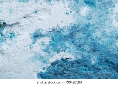 Beautiful abstract bright ocean blue color painted grunge wall, rough textured background