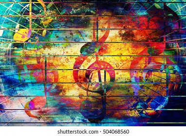 beautiful abstract colorful collage with music notes and the violin clef.