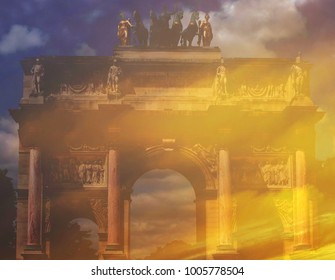The beautiful abstract complex mixed image of the clouds at the sunset with the view of the Triumphal arch, located in the Place du Carrousel on the summer sunny day in Paris.