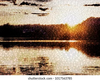 The beautiful abstract complex mixed image of the textured surface of white and grey colors with the layer of the lake water in which reflects the clouds in the sky at the autumn sunset.