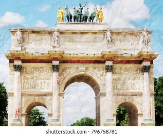 The beautiful abstract complex mixed image of the textured surface of white and grey colors with the view of the Triumphal arch, located in the Place du Carrousel on the summer sunny day in Paris.